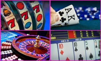 slots, cards, roulette and poker